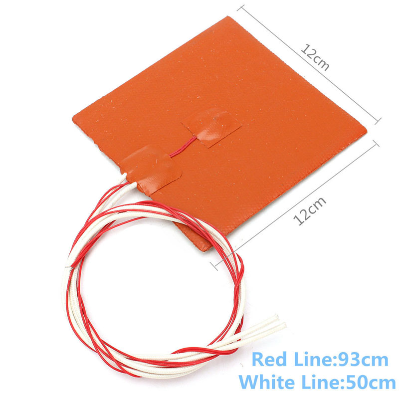 12*12cm 12V 120W Silicone Heated Pad 3D Printer Heating Pads Waterproof Bed Heat Preservation Mat