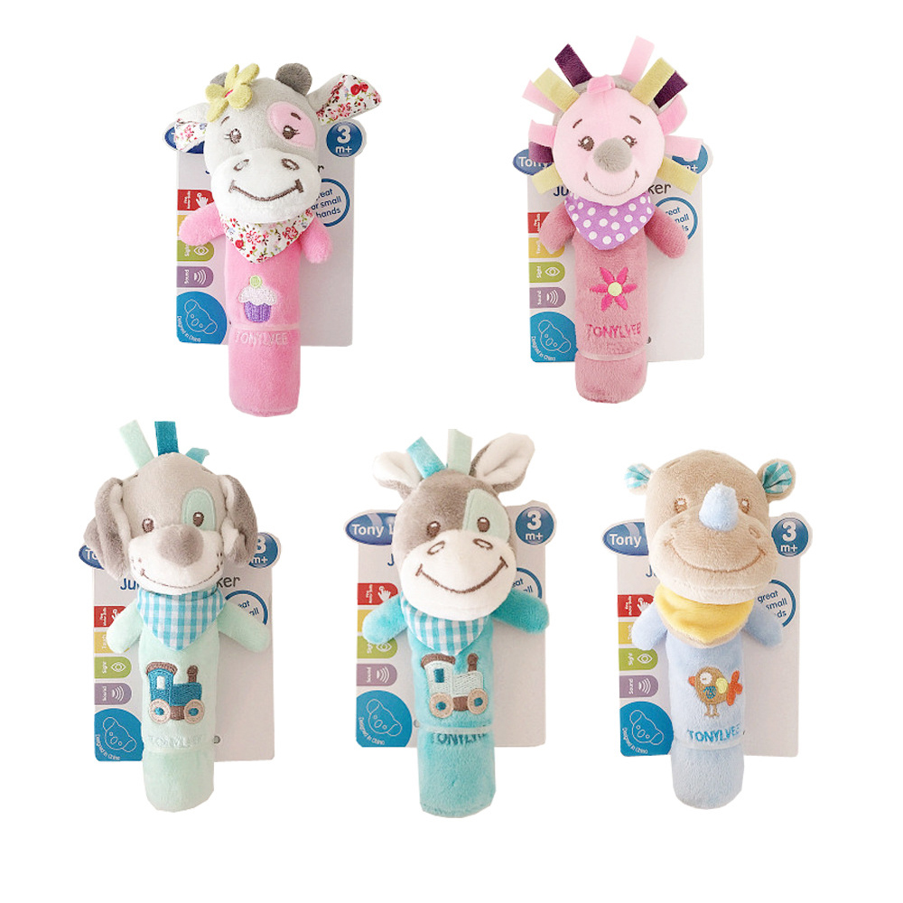 TONY LVEE Baby Rattle Mobiles Cute Baby Toys Cartoon Animal Hand Bell Rattle Soft Toddler Oyuncak Plush Bebe Toys 0-12 Months