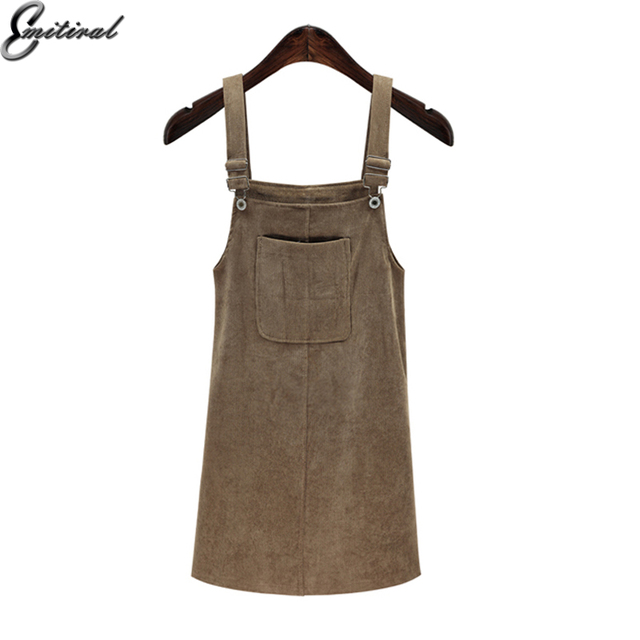 d8bba0a46ac Emitiral 2018 Spring Retro Corduroy Suspender Sundress Overall Vest  Sleeveless Plus Size 5XL Dress Bib Pocket Front Summer Dress