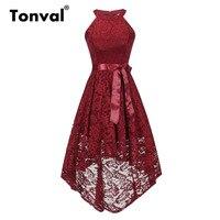 Tonval Vintage Floral Lace Off Shoulder Midi Dress Women High Low Hem Party Robe Dress Ladies Burgundy Red Dresses