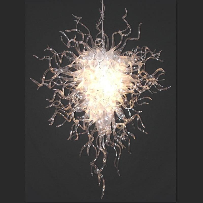 White Large Glass Chandelier Borosilicate Glass Chandeliers LED Bulbs Livingroom Lightings