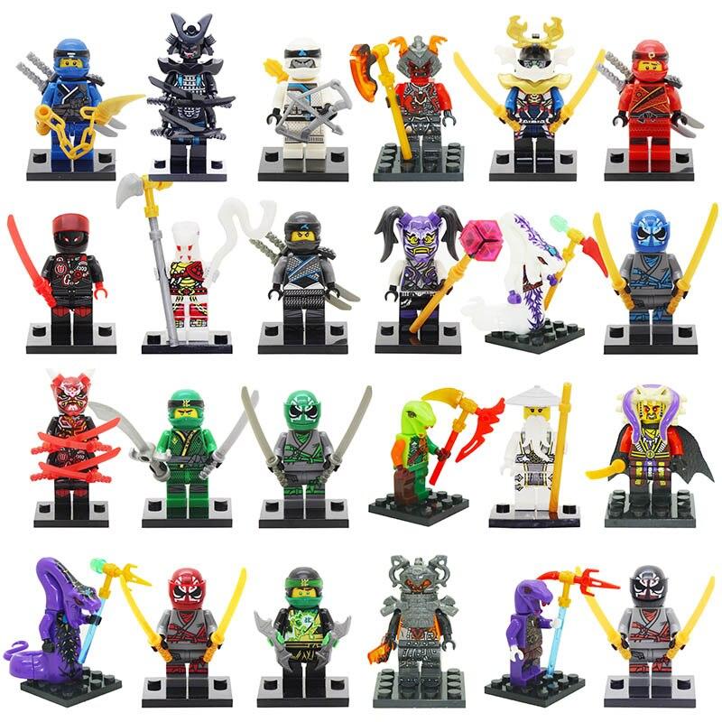 Single Sale Red Kaijie Mask Hatred Samurai purple mask Mr Weapons NINJA Figure Blocks toy Compatible LegoINGlys NinjagoINGlys close-up