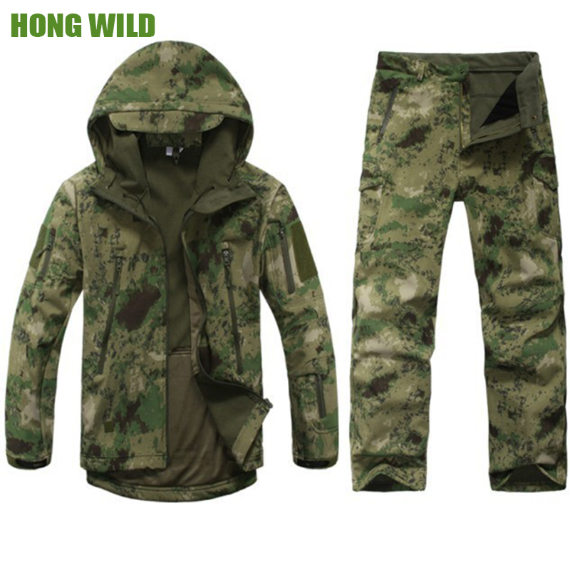 Hunting clothes  Outdoor  Lurker Shark Skin tad v4 Tactical millitary Softshell jacket suit  men  waterproof combat Jacket+pants lurker shark skin softshell v4 military tactical jacket sets men women waterproof windproof warm coat pants camouflage clothing