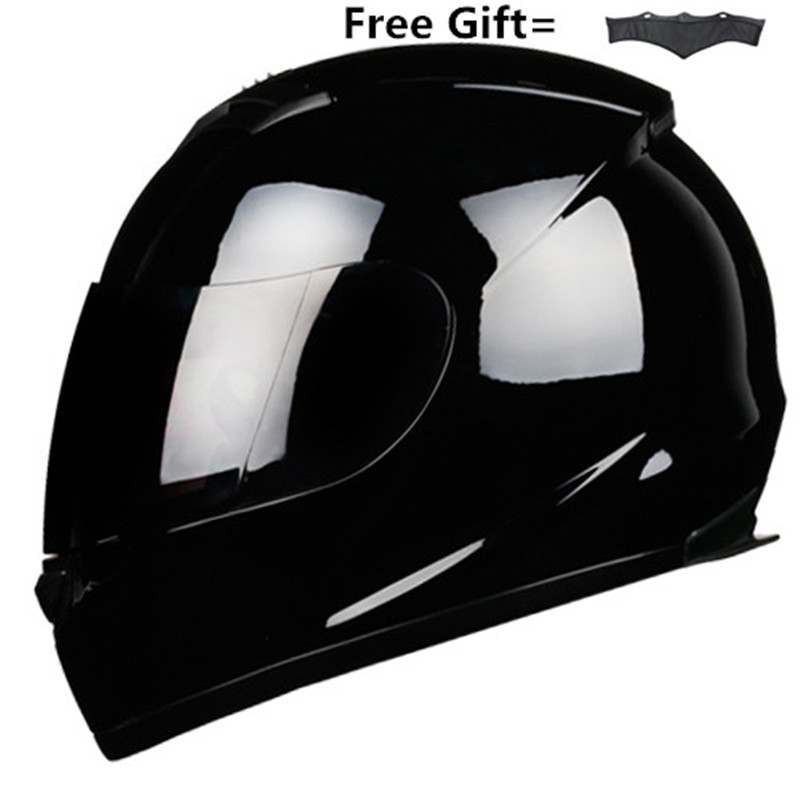 Full Face Motorcycle Helmet Racing Helmet Motocross Off Road Kask Casco De Moto Motociclista DOT Gloss Black S-