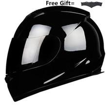 Полнолицевой мотоциклетный шлем для гонок шлем мотокросса бездорожья Kask Casco De Moto Motociclista DOT Gloss black S-