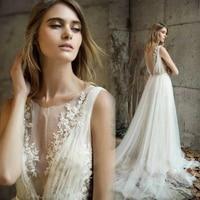 SSYFashion New White Lace Wedding Dress Vestido De Noiva Romantic Lllusion Backless Bridal Beach Weddin Gown Custom Made