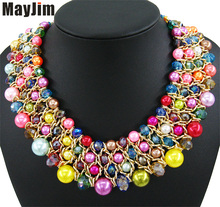 MayJim Statement pearl Necklaces 2018 chunky big crystal Choker Necklaces & pendants fashion Women vintage jewelry accessories