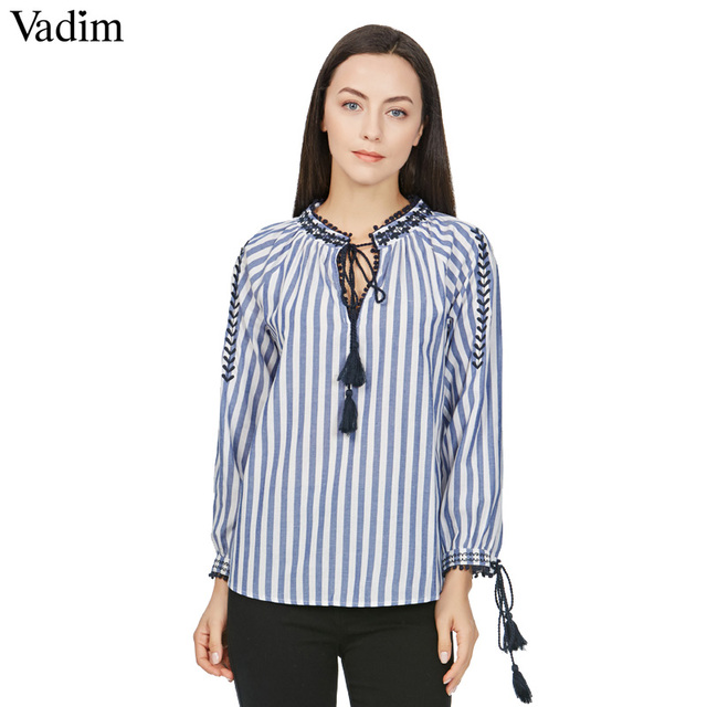 Vadim women V neck floral embroidery tassel striped shirts bow tie long  sleeve pleated blouse retro