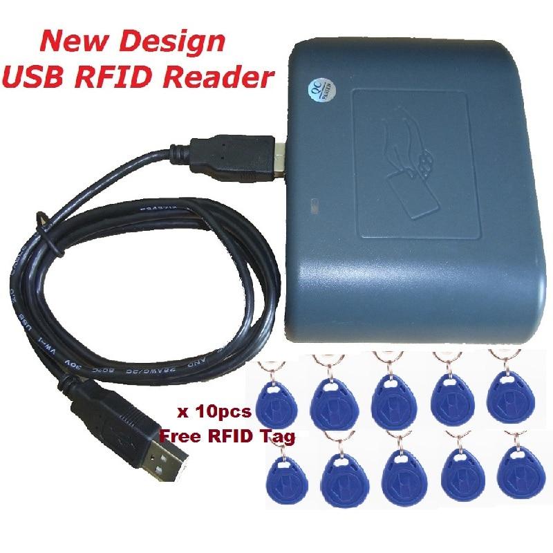 Access Control 125khz USB RFID Smart Cards Reader New Design Green Color Compatible EM100 Proximity Sensor System & 10pcs Keytag