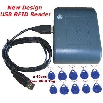 Access Control 125khz USB RFID Smart Cards Reader New Design Green Color Compatible EM100 Proximity Sensor System & 10pcs Keytag цена 2017