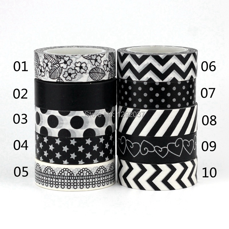 NEW 1X 15mm*10m Tape Black White Set Flower Dot Star for Scrapbooking DIY Stickers Decorative Masking Japanese Washi Tape Paper new 10 1