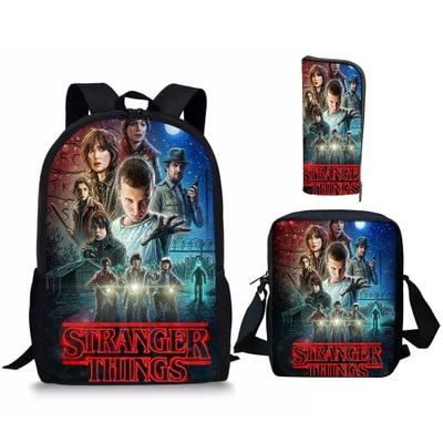 New 3pcs/lot Stranger Things Backpack Teenage Children School Bags Boy Girls School Backpacks Kids Schoolbag Student Bag