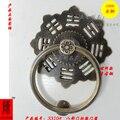 O Chinês templo ancestral portão flor pequena casa da cidade fofocas cobre antigo 12 cm punho aldrava de porta/anel