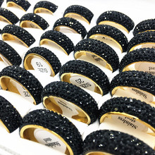15 pcs נשים גברים טבעת מלא מעגל 5 שורה ריינסטון נירוסטה תכשיטי טבעות מלוטש ללבוש נוח סיטונאי המון בתפזורת