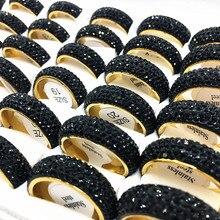 15 pcs delle donne degli uomini anello Cerchio Completo 5 Fila di Strass In Acciaio Inox Anelli Dei Monili Lucido Usura Comoda Lotti Allingrosso Allingrosso