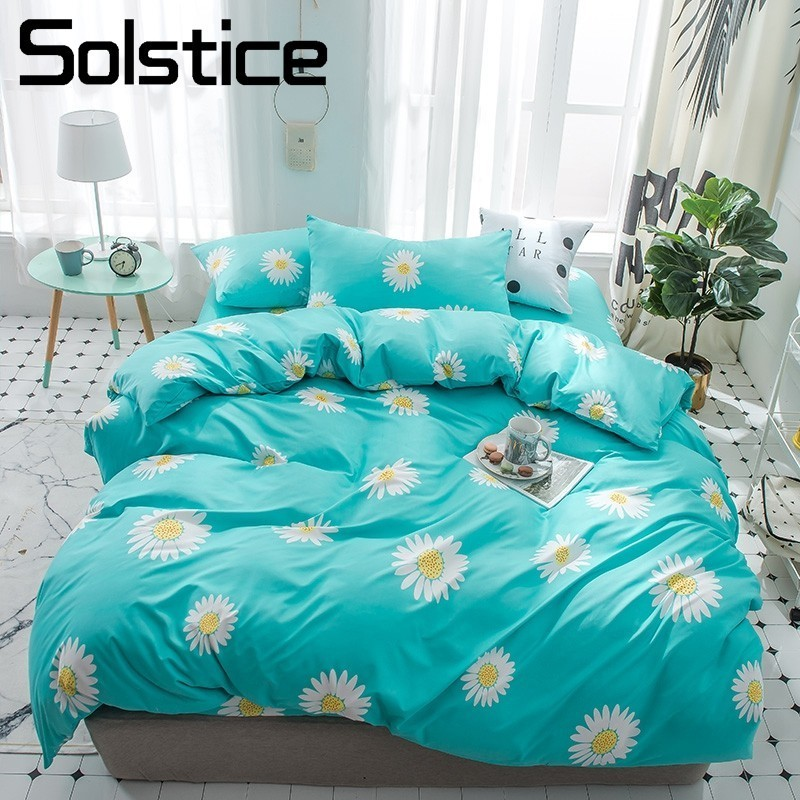 Solstice Home Textile Cyan Flower Duvet Cover Flat Bed Sheets Pillowcase Child Teenage Girl Woman Bedding Linen Set Single Queen