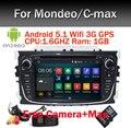 4 Ядра Android 5.1 Автомобиль DVD GPS Для Ford Mondeo Фокус 2 S-max 2007 2008 2009 2011 2013 с Wifi 3 Г Bluetooth Радионавигации