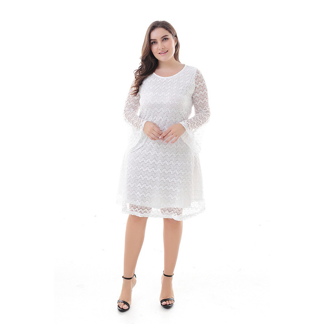 US $20.49 18% OFF|Women Clothing Elegant Lace Hollow Out Fashion Long  Sleeve Casual Party Plus Size Skater Dresses 4xl 5xl 6xl 7xl 8xl 9xl  200164-in ...
