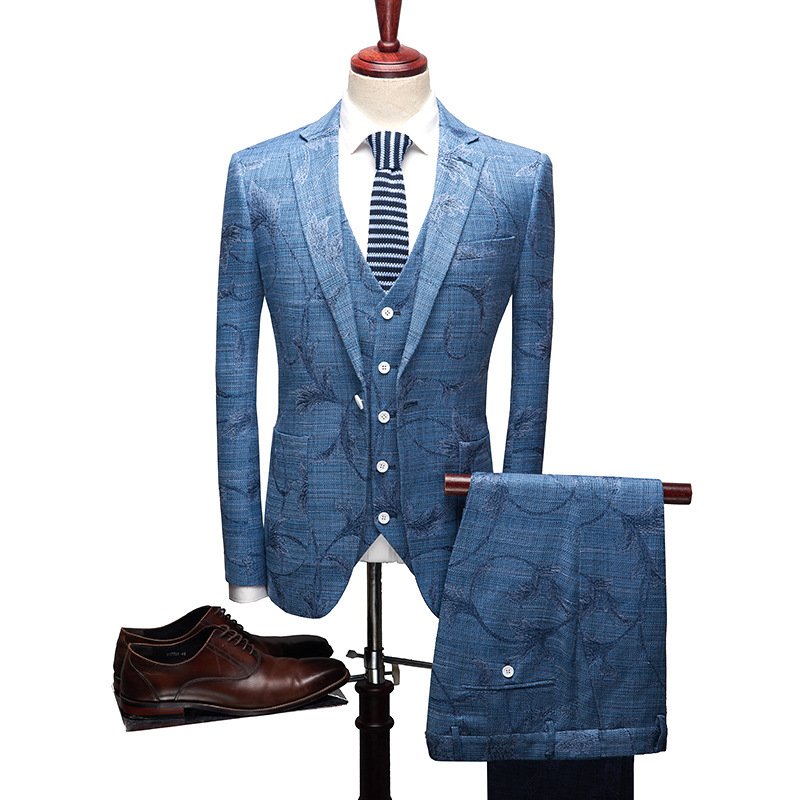 blanc Mariage Lin En Mode Fit Costume Slim Coton Hommes Broderie veste Bleu De D'affaires Costumes Plein Gilet Pantalon Robe Casual 4Hw0Oqp