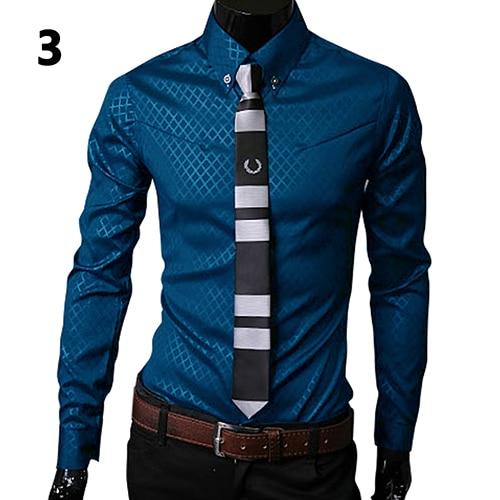 Men's Shirt Long Sleeve 2019 New Arrival Fashion Men Argyle Luxury Business Style Slim Fit Long Sleeve Casual Dress Shirt