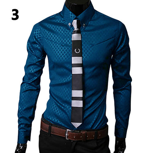 Men's Shirt Long Sleeve 2019 New Arrival Fashion Men Argyle Luxury Business Style Slim Fit Long Sleeve Casual Dress Shirt