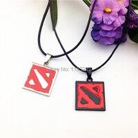 Free Shipping Men Women Trade Online Games Around Black Red Dota 2 Sign Pendant Necklace 2