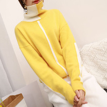 Women Winter Casual Color Blocking Angora Wool Cashmere Sweater Turtleneck Pullover Jumper Patchwork Cute Christmas