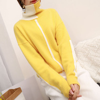 Women Winter Casual Color Blocking Angora Wool Cashmere Sweater Turtleneck Pullover Jumper Patchwork Cute Sweater Christmas