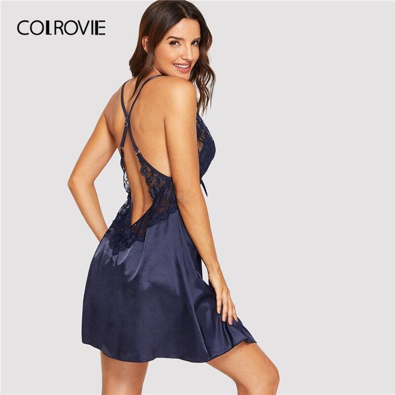 COLROVIE Navy V Neck Backless Contrast Lace Panel Night Dress Women 2019 Summer Sleeveless Sleepwear Lounge Ladies Nightgowns
