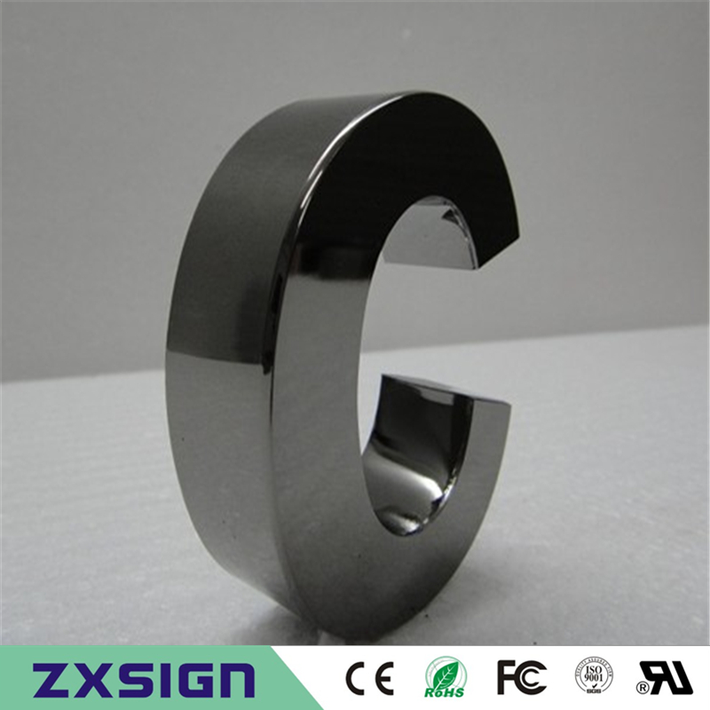 Factoy Outlet Custom Made High Quality Outdoor Mirror Polished Stainless Steel Letters With Plating Titanium In Black Color,