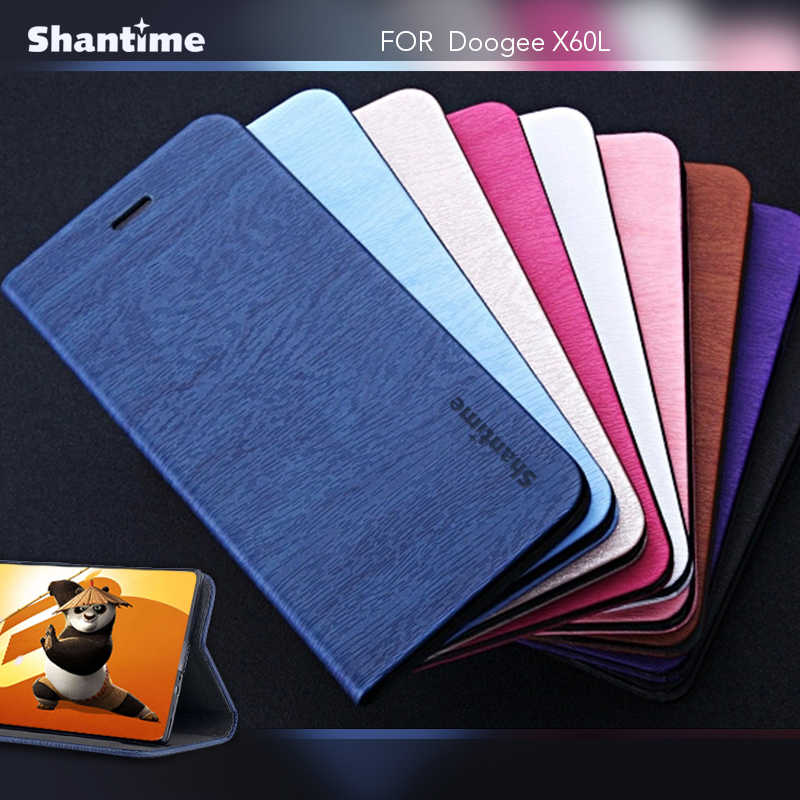 Pu Leather Book Case For Doogee X60L Flip Phone Case For Doogee Y6 Card Slots Business Case Soft Tpu Silicone Back Cover