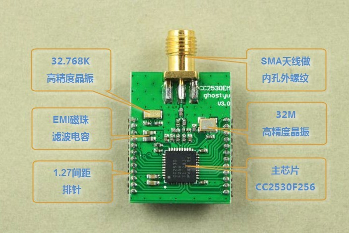 Freeshipping Zigbee CC2530 module PCB antenna SMA zigbee cc2530 dht11 pcb board design temperature and humidity acquisition vb display upper computer finished graduation