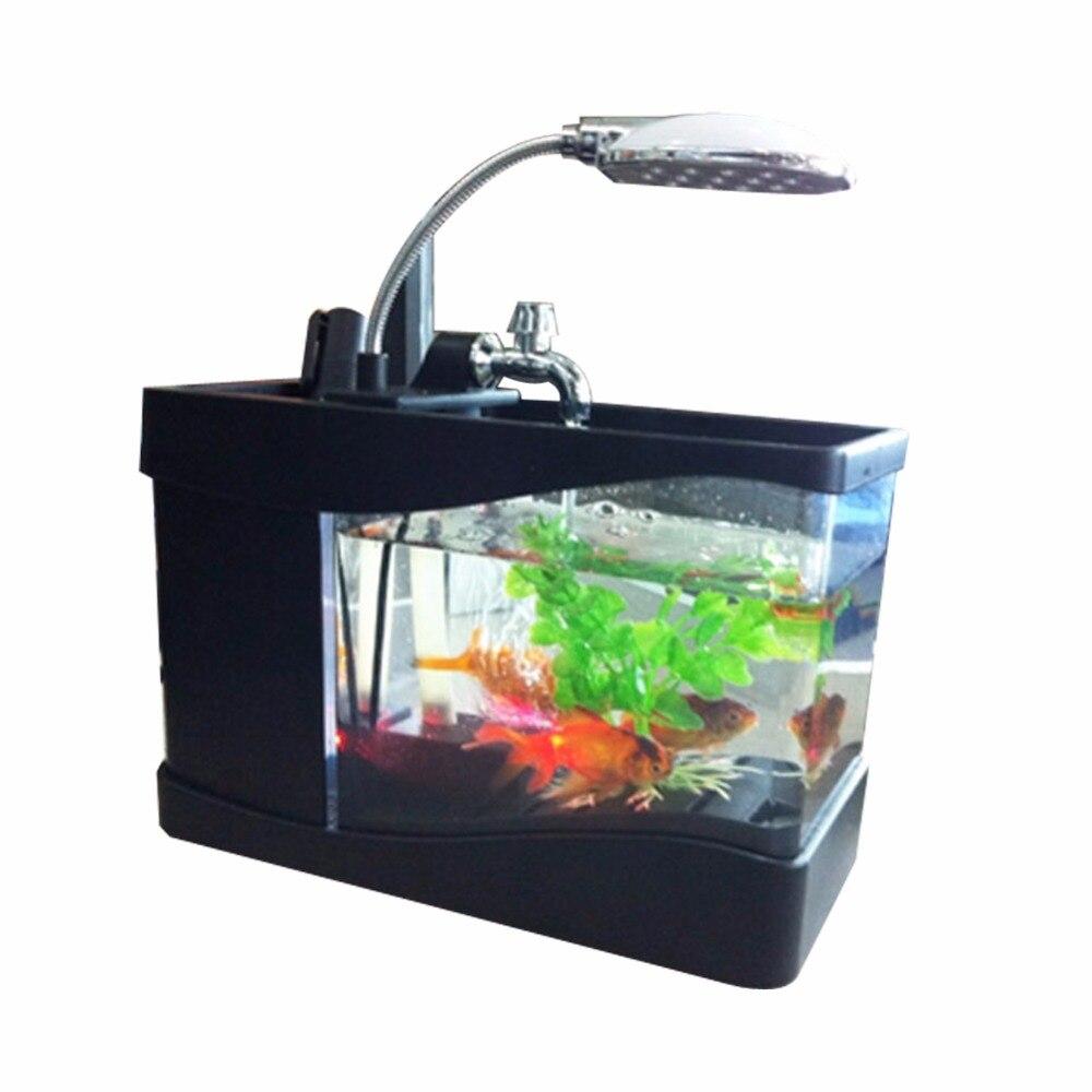 Usb mini aquarium fish tank with colorful light - Aliexpress Com Buy 1pcs Small Usb Fish Tank With Led Light Mini Desktop Aquarium Fish Tank Water Pump Light Calendar Alarm Clock Black And White S2 From
