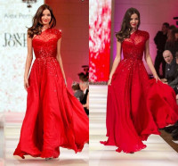 New Fashion Miranda Kerr One Shoulder Sequins A-Line Chiffon Red Carpet Celebrity -Inspired Dresses Prom Evening Gowns