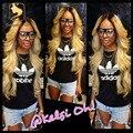 Высочайшее качество блондинка полный парик шнурка ombre фронта шнурка человеческих волос парики необработанные Китайский объемная волна два tone1b/613 человеческих волос парики