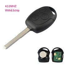 Замена дистанционного Ключи 3 Пуговицы пригодный для Ford Fiesta 2003-2008 FOB 433 мГц 4D63 чип Авто Ремонт удаленного ключи P28