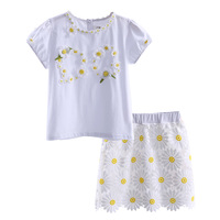 European and American Style White Toddler Girl Clothng Set Flower Tops And Skirts Children Clothing CS90227-661F