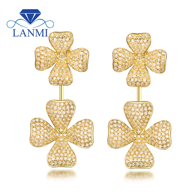 Fashion Si Diamond Earring Loving Fine Jewelry For Wedding Real 18k Yellow Gold Stylish Design