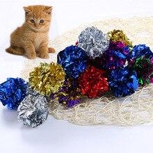1 шт., модные игрушки для кошек, многоцветный Майларовый мячик, кольцо, бумажная звуковая игрушка для кошки, котенок, играющие интерактивные изделия для домашних кошек