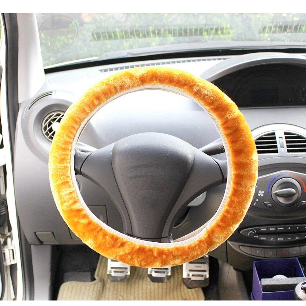 Car-styling Plush Warm Steering Wheel Artificial over Woolen Handbrake Car Accessory Auto td1017 Dropship