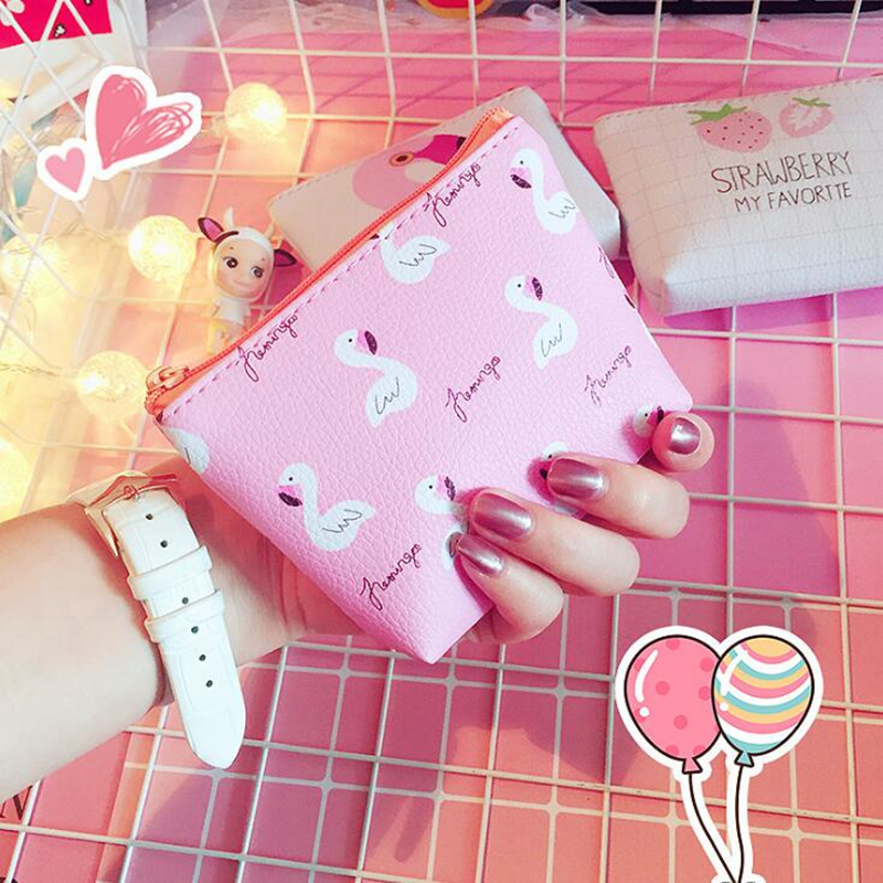 kawai Girls Animal Flamingo Coin Purse Mini Fashion Women Money Wallet Bag Key Coin Pouch Children Change Purse Holder Kids Gift
