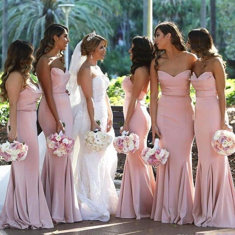 Pink Pleat Off the Shoulder Mermaid   Bridesmaid     Dresses   Long Vestido De Festa Maid Of Honor   Dress   plus size maxi