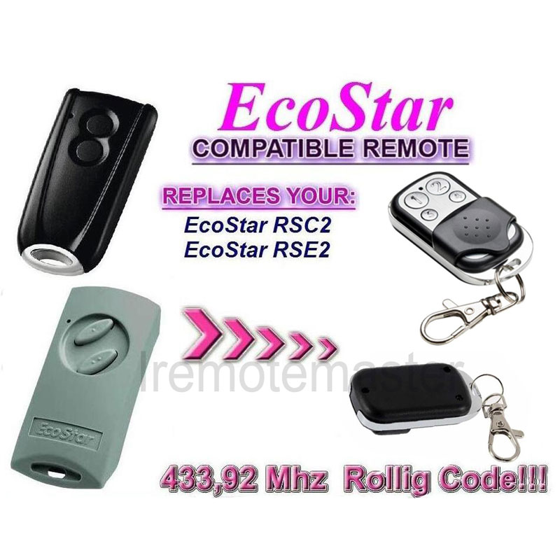 2pcs  Garage remote for  Ecostar RSE2  RSC2  Handsender 433 Mhz rolling code high quality  free shipping