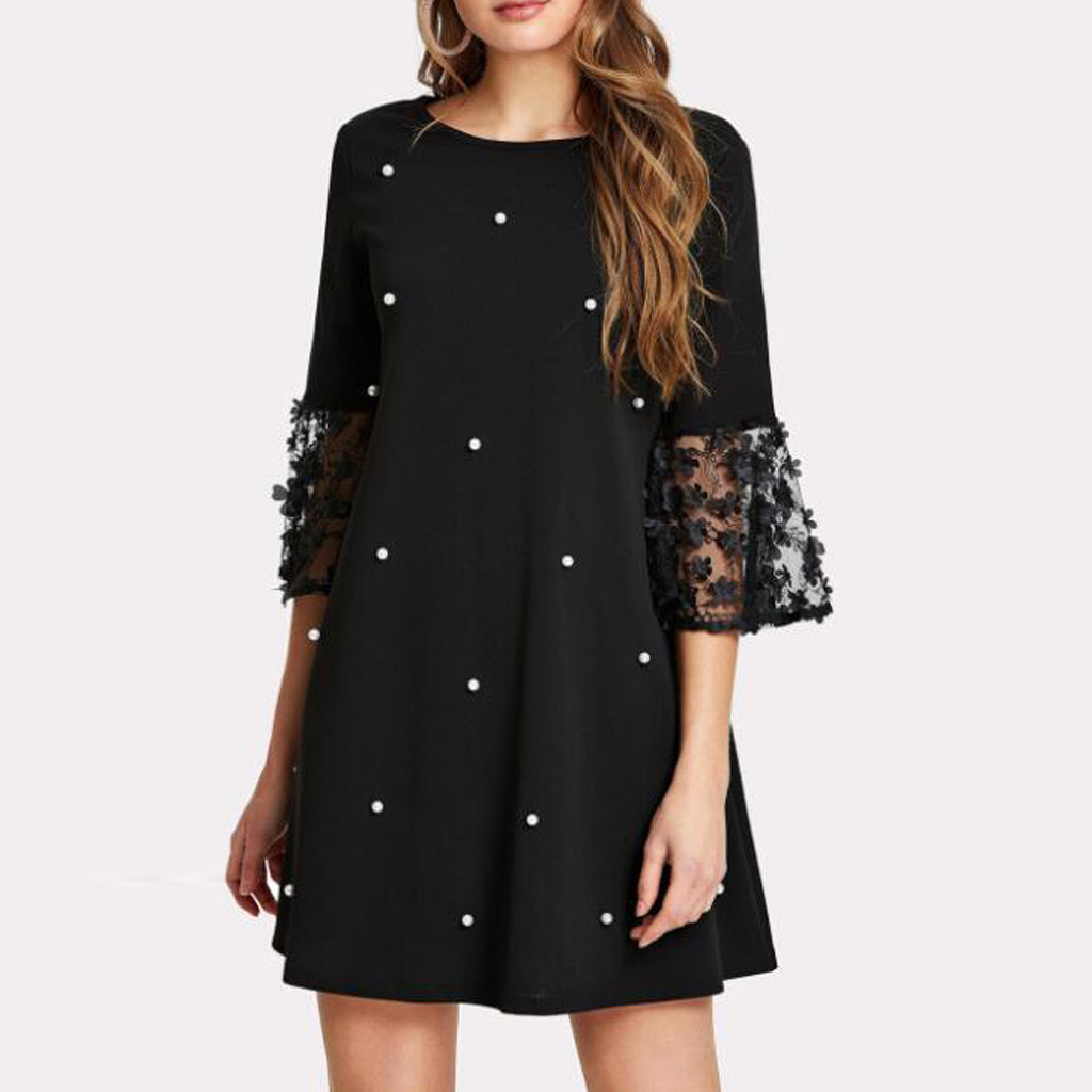 Fashion Women Sexy Wave Solid Point O-Neck Spliced Hollow Out Long Sleeve Dress summer vestido largo verano mujer 2020 new