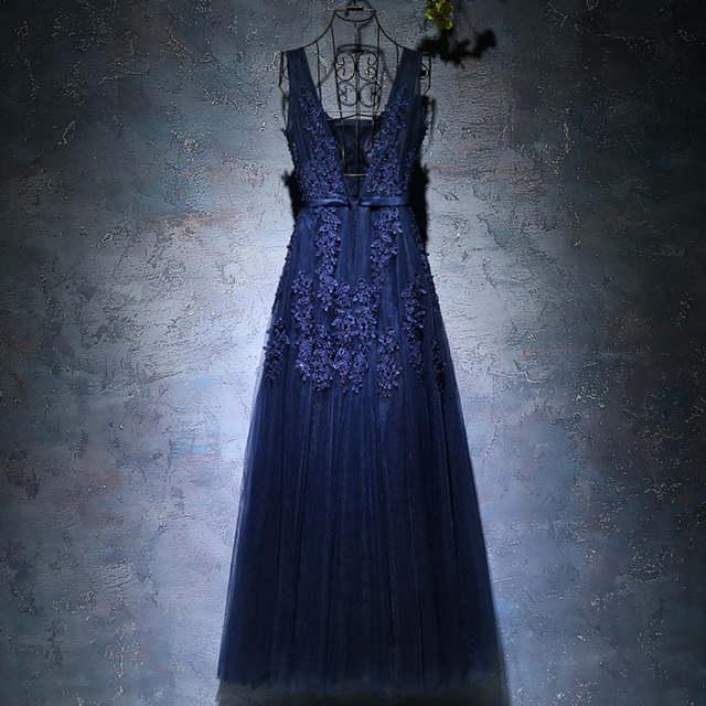 cdb077cc2 2019 vestidos de baile Stock Navy Blue A-line Prom dresses vestido de noite  V