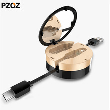 Pzoz retractable c type cable mobile phone charging cord for samsung c usb cabel data sync type-c usb 3.1 for xiaomi 5 huawei 6(China)