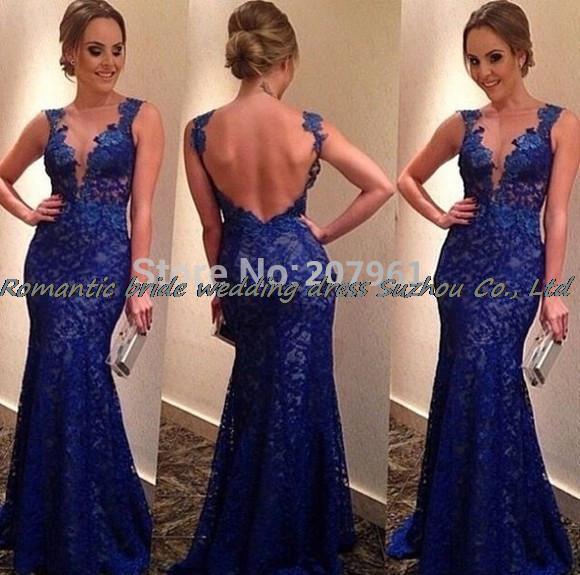 2015 Elegant Deep V Neck Lace Royal Blue Prom Dresses Low Cut Back ...