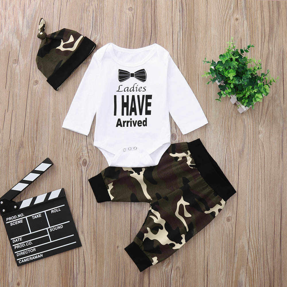 70a577653a636 ... MUQGEW Hot sale Newborn Infant Baby Boy Letter Romper Tops Camouflage  Pants Hat Clothes Set Dropping ...