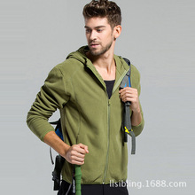 Free Shipping In The Spring And Autumn Fashion Men's Fleece Jacket Leisure Hooded Polar Fleece Cardigan