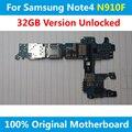 Para samsung galaxy note 4 n910f vesion ue placa lógica placa base placa base 32 gb desbloqueado con chips oficial 100% bien de trabajo